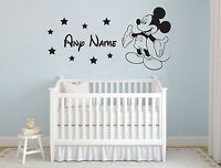 MICKEY MOUSE & NAME PERSONALISED WALL STICKER  DISNEY CHILDRENS BEDROOM VINYL