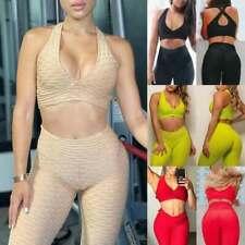 Para mujeres Leggings Pantalones de yoga tops con textura Anti-celulitis entrenamiento Acanalada trajes Hh