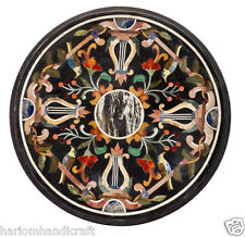 "20"" Marble Coffee Round Table Top Rare Marquetry Inlay Mosaic Patio Decor H2398"