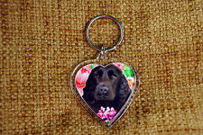 Cocker Spaniel Dog Keyring Black Dog Key Ring heart shaped Birthday Xmas Gift