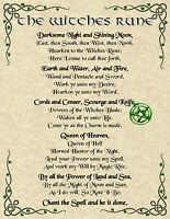 Witches Rune Prayer Poster Pagan New Age Goth Witch Spirit Celtic Pentacle Magic