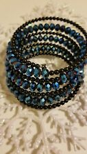 Faceted Blue Crystal Beads and Rhinestone Slinky Bracelet with Gorgeous Sparkle