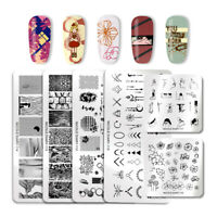 NICOLE DIARY Nail Stamping Plates Geometry Flower Line Nail Art Templates Tool