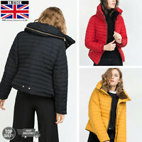 Womens Quilted Padded Puffer Bubble Jacket Warm Thick Fur Collar Hooded Coat NEW