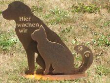 Edelrost Hund und Katze Hier wachen wir Gartenfiguren Tierfiguren Haustier Rost