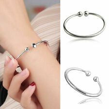 Perfect 925 Sterling Silver Bangle Bracelet Beads Ladies Jewellery Gift UK