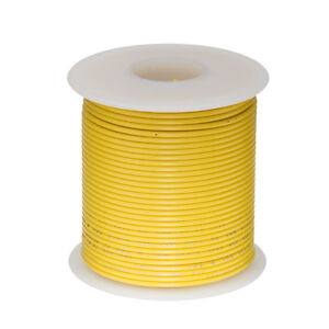 """28 AWG Gauge Solid Hook Up Wire Yellow 100 ft 0.0126"""" UL1007 300 Volts"""