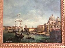 Great orig. 20thC signed Renfigo Venice Harbor Canal Oil / Board Pro. Framed