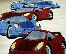 AUTO  Teppich Sportwagen / Sport Cars blau oder rot in 2 Größen TOP NEUWARE