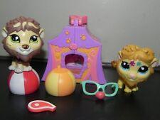 Littlest Pet Shop #2226 sparkle glitter lion #1874 green eye rare circus lion
