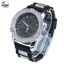Men's Hip Hop Iced Out Silver Plated Silicone Band Techno Pave Watch WR 7949 KS