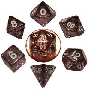 MET4203 - Metallic Dice Company: Ethereal Black 10mm Mini Polyhedral Dice Set