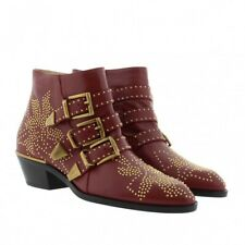 Chloe Susanna Studded Ankle Boots Cherry Syrup 41 $1380