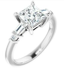 14kt Baguette Diamond Engagement Ring for Princess Cut, Emerald Cut and More