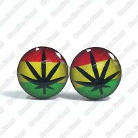Weed Rasta Flag Marijuana Stainless Steel Stud Earrings - Mens Womens Fashion