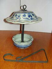 Vintage Large Porcelain Ceramic Blue WhiteTransferware Bird feeder & Hanger EUC
