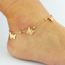 Butterfly With Bell Barefoot Sandal Beach Gold Plated Stretch For Girls