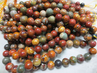 "Natural Picasso Jasper Gemstone Round Loose Beads 4mm 6mm 8mm 10mm 12mm 14mm 15"""