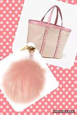 NWT Victorias Secret Large Canvas Getaway Tote Bag Pink Studded Pom Pom Keychain