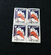 WW 2 POLAND FIRST TO FIGHT CINDERELLA POSTER SET OF 4 STAMPS NNH POLITICAL