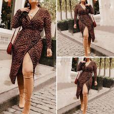 Women Long Sleeve Leopard Vintage Wrap Dresses Party Cocktail Dresses Plus Size