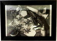 Framed Print Picture Black White Alligator Crocodile Crawling Books Desk Art