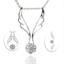 Sterling Silver Angel White Swarovski Elements Crystal Pendant Necklace gift C17