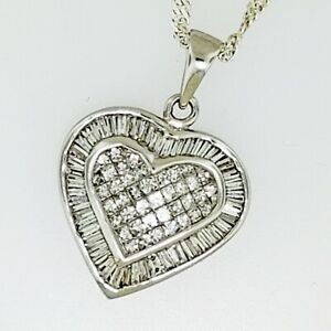 Invisible Princess and Baguette Diamond Heart Pendant ~2.00 ctw 14k White Gold