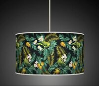 TROPICAL LEAVES BIRDS GREEN HANDMADE LAMPSHADE CEILING LIGHT / TABLE SHADE 924