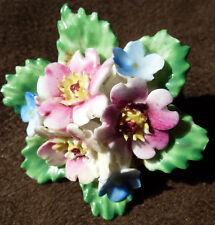 Vintage Floral Posy Porcelain Brooch Made In England 4cm Dia