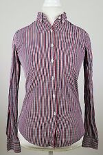 Women's Giordano Blouse Red/White/Blue Size Small Long Sleeve Front Button