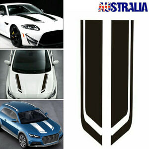 2pcs Black Car Racing Sports Stripes Hood Decals Vinyl Bonnet Sticker Accessory