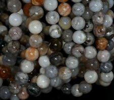 8MM BAMBOO AGATE GEMSTONE BROWN GREY ROUND LOOSE BEADS 15.5""
