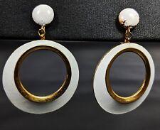 Gold Tone White Enamel Hoops Clip-on Earrings by Crown Trifari 1950s