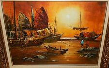 H.CHAN CHINESE FISHING BOATS ORIGINAL OIL ON BOARD PAINTING