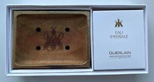 GUERLAIN EAU IMPERIALE SOAP 80 G 2.8 OZ WOOD SOAP DISH SET OF 2 PCS VIP GIFT