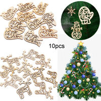 10pcs/set Creative Wooden Christmas Pendants Decor Wood Crafts Christmas