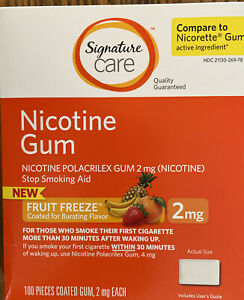Nicotine Gum 2 Mg 100 Ct Fruit Freeze Flavor Compared to Nicorette ~ New in Box