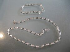 "Silver Plated Jewelry set Quadrate Circle link 20"" Necklace and Bracelet"