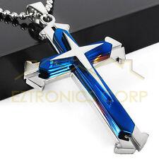 Cross Pendant Necklace BLUE Stainless Steel Unisex Crucifix Men Women