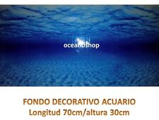 FONDO 70x30cm ACUARIO DECORATIVO VINILO AGUA MAR OCEANO AZUL CALIDAD D449