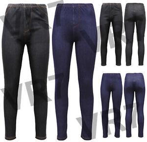 New Ladies Womens Stretchy Denim Look Skinny Jeggings Leggings Plus Size 8-30 UK
