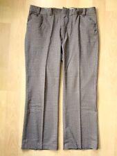 Vtg 70s Superfly Brown Check Poly Knit Pimp Nerd Wide Leg Pants 40W