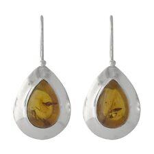 Brand New Pair Fine Solid 925 Sterling Silver & Cognac Amber Bezel Tear Earrings