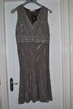 KALEIDOSCOPE FLAPPER/CHARLESTON BEADED SEQUIN MINK  DRESS 12 BNWT
