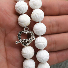 12mm White Carving Coral Round Beads Necklace 18'' Tibetan Silver Love Clasp