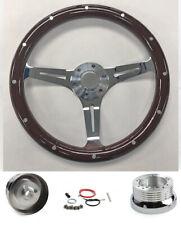 "78-91 Ford Bronco F100 F150 F250 F350 15"" Dark Wood Steering Wheel on Chrome"