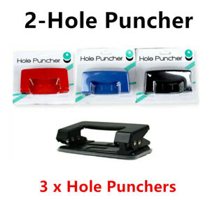 3 x Classic Two Holes Puncher 2 Hole Office Paper Document Sheet Ring Punch Desk