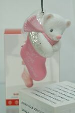 BABY GIRL'S FIRST CHRISTMAS HALLMARK ORNAMENT 2017 PINK STOCKING FREE SHIP IN US