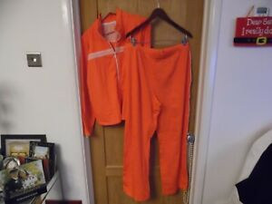 NWOT ORANGE STRETCH LADIES LEISURE SPORTS ZIP TOP AND 31L TROUSERS XL